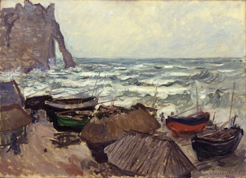 Claude Monet Paintings Fishing Boats on the Beach at Etretat jpg