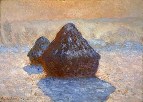 Claude Monet Paintings Grainstacks White Frost Effect jpg