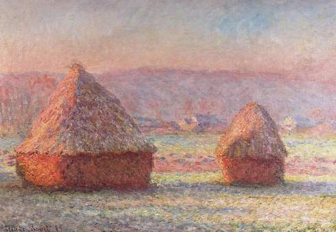 Claude Monet Paintings Haystacks White Frost Sunrise jpg