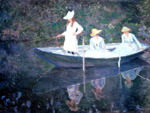 Claude Monet Paintings In the Norvegienne Boat at Giverny jpg