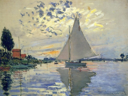 Claude Monet Paintings Sailboat at Le Petit Gennevilliers jpg