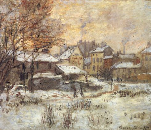 Claude Monet Paintings Snow Effect With Setting Sun jpg