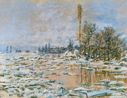 Claude Monet Paintings Breakup of Ice Lavacourt Grey Weather jpg